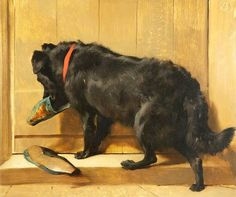 Edwin Henry Landseer, A Dog with a Slipper, 1848 oil on panel, National Museums Liverpool, UK