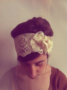 Lace Headband - Womens Bridal Headbands Head Wraps, Head Bands Fabric Headband, Hair Turban Head Scarf Hair Wrap. $16.00, via Etsy.