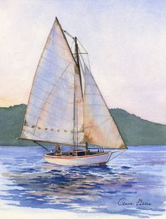 Sailing in the Sunset by annaallegraprints on Etsy