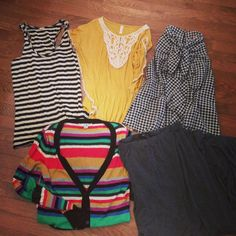 My goodwill haul today! Jcrew tank / target top and maxi skirt / houndstooth top / f21 cardigan