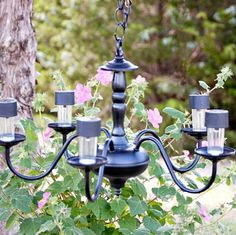 s 13 spectacular things to make for your yard using 1 solar lights, lighting, outdoor living, repurposing upcycling, This elegant updated chandelier