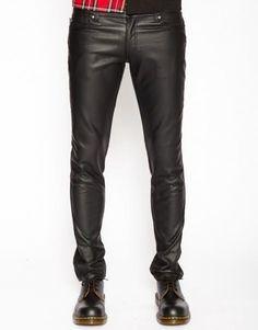 Black Skinny Pleather Guys Pants by Tripp NYC in Black