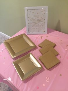 Twinkle Twinkle little star birthday party in pink and gold