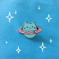 Baby Cat Home Planet Enamel Pin - Silver Metal Lapel Badge - Cute Pastel Cosmic Illustration by Sparkle Collective