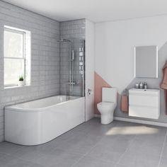 Denver Shower Bath Suite Right Hand - Bali Pan Bathroom Storage, Bathroom Interior, Bathroom Ideas, Back To Wall Bath, Shower Suites, Bathrooms Online, Close Coupled Toilets, Basin Unit