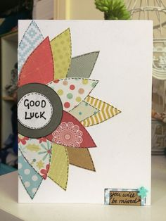 Good use for oblong scraps of paper Paper Cards, Diy Cards, Your Cards, Goodbye And Good Luck, Goodbye Cards, Congrats Cards, Congratulations, Good Luck Cards, Make Your Own Card