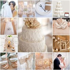 White & Burlap themed wedding. Would be nice with coral and/or mint accents