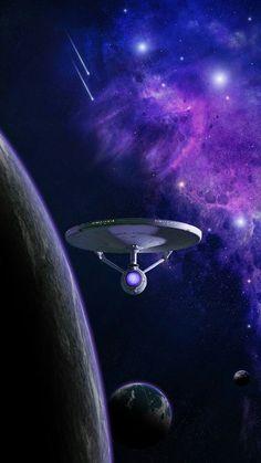Star Trek, and the starship Enterprise orbiting planet. Nave Enterprise, Star Trek Enterprise, Star Trek Voyager, Science Fiction, Star Trek Wallpaper, Star Trek Posters, Star Trek Cast, Starfleet Ships, Cosmos