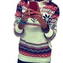 2015 New Women Hoodies Sweatshirt Harajuku Christmas Snowflake Printed Sportwear Tracksuits Casual Pullover survetement femme Z1(China (Mainland))