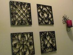They look like wrought iron, but they're made from toilet paper rolls!