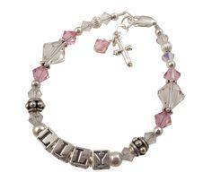 Sparkling Name Bracelet for Girls with Cross Charm, Baptism Christening Gift *** Click image for more details.