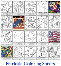 Patriotic coloring sheets for Veterans Day, Memorial day and other Patriotic holidays and events.