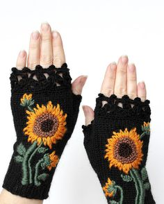 Knitted Fingerless Gloves, Gloves & Mittens, Gift Ideas, For Her, Winter Accessories, Sunflower, Mother's Day Gifts,Fashion, Accessories