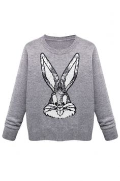 #Gray #Cute Womens #Sequins #Bugs #Bunny #Thick #Pullover #Sweater