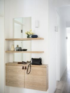 5 Ways to Eke an Entryway Out of Almost No Space at All/Contemporary Apartments/Entry Small Apartments/ Entryway Storage, Entryway Decor, Organized Entryway, Entry Foyer, Entryway Ideas, Entryway Mirror, Small Entryway Organization, Shoe Cabinet Entryway, Narrow Entryway