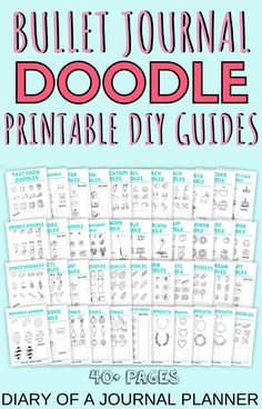 Join the Happy Doodle Club by purchasing the Big Bundle, full of over 40 pages worth of how to doodle tutorials and DIY guides for doodling for bullet journals! Happy Doodles, Cool Doodles, Simple Doodles, Bullet Journal Printables, Bullet Journal Art, Journal Layout, Journal Pages, Birthday Doodle, Space Doodles