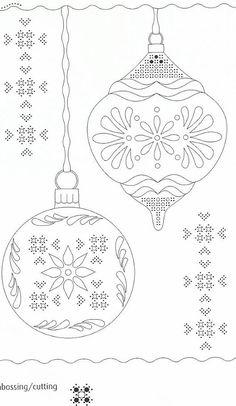 Perga Noël - Nerina D - Álbuns da web do Picasa Christmas Ornament Template, Christmas Colors, Christmas Crafts, Parchment Design, Parchment Cards, Christmas Embroidery Patterns, Paper Embroidery, Machine Embroidery, Embroidery Designs