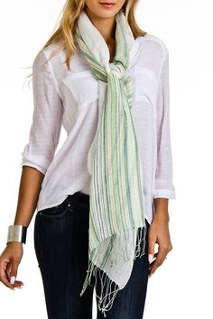 "This Italian linen scarf is light weight and fun colors. Perfect for those hot and muggy days or use it as a sarong/cover up.    Dimensions: 20"" x 68""   Italian Stripe Scarf by Violet Del Mar. Accessories - Scarves & Wraps San Diego, California"