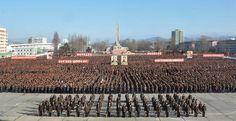 경애하는 최고령도자 김정은동지께서 올해신년사에서 제시하신 강령적과업을 철저히 관철하기 위한 함경남도군중대회 진행-《조선의 오늘》