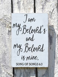 Wedding Sign Scripture Plaque I Am My Beloved's Couples Anniversary Gift Master Bedroom Wall Art Bible Verse Hand Painted Wooden Plaques