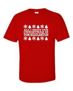 All I Want For Christmas Is Tom Hiddleston Shirt on Etsy, $19.99. #tomhiddleston #loki #thor