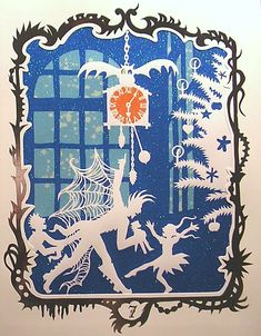 """Paper cut silhouette from Jan Pienkowski's """"The Nutcracker"""" (check out Drosselmeyer's goth boots and spiderweb / batwings)"""