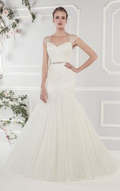 Ellis Bridals 2015 wedding dresses Rose collection | Wedding dress 19055 - Softly pleated tulle fishtail dress with detachable straps and diamante bow belt.