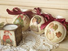 Set of 3 Christmas balls and wooden by DecoupageMezzanine on Etsy