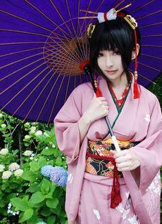 Hakuouki Kaoru Nagumo Cosplay | via Facebook #japanese fashion kimono,  #black hair girl cosplay Japanese Fashion, Black Hair, Halloween Costumes, Kimono, Cosplay, Facebook, Hats, Pattern, Dresses