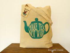 Make Tea Not War BlueTeapot Illustration Eco by MysticMooseCrafts.