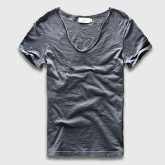 남성 기본 티셔츠 단색 코튼 V 넥 슬림 맞춤 남성 패션 T 셔츠 짧은 소매 상단 티 2017 브랜드