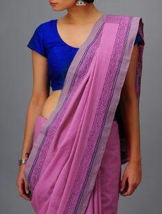Pink-Purple Andhra Cotton Saree