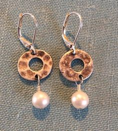 Freshwater Pearls w/ Patina Donut Earrings