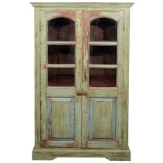 Green Painted Armoire with Glass Windows | From a unique collection of antique and modern wardrobes and armoires at http://www.1stdibs.com/furniture/storage-case-pieces/wardrobes-armoires/
