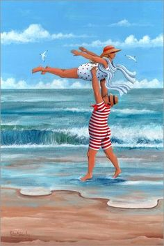 Nostalgic Art You Know i love you Romantic Holidays Pin Up am Strand Postkarte #