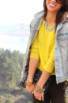 yellow + denim + sequins