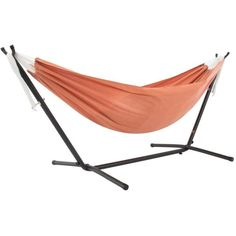 9 ft. Sunbrella Hammock Bed with Space Saving Steel Stand in Coral C9SUNCO - The Home Depot Hammock Bed, Hammock Stand, Double Hammock With Stand, Brazilian Hammock, Thing 1, Plastic Caps, Orange Bag, Accessories, Pipes