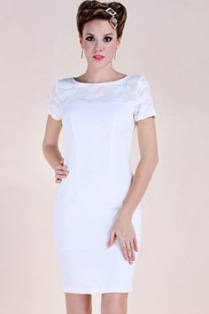 White Embroidered Yoke Back Slit Dress
