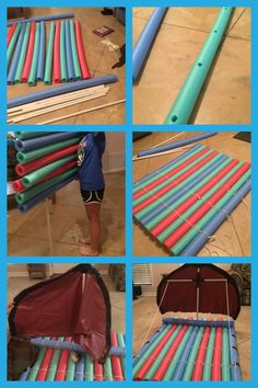 Pool Noodle Raft- cheap, long life, and helpful Lake Floats, Pool Floats, Pool Noodle Crafts, Diy Pool, Pool Fun, Pool Hacks, Pvc Projects, Water Toys, Water Play