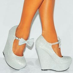 Ladies Silver Sparkly Metallic High Heels Wedges Glitter Wedged Bow Detail Shoes Platforms (UK6/EURO39)