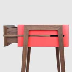 Young & Norgate : Animate Bedside Table // paint the sides of a wooden side table for a subtle pop of color