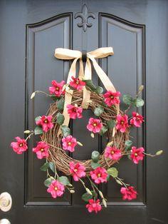 Mothers Day Wreath,Spring/Summer Wreaths, Wreath, Spring Decor, Burlap Ribbon, Etsy Wreaths, Outdoor Wreaths via Etsy