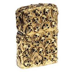 Zippo Lighter Skull Jacket Five Sides Design Gold Heavy Metal