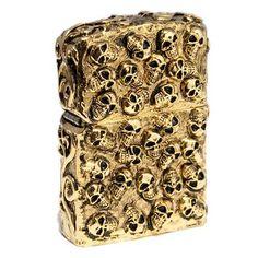Zippo Lighter Skull Jacket Five Sides Design Gold Heavy Metal