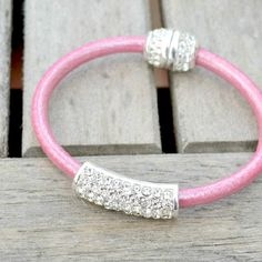 Easy Rhinestone Leather Bracelet - Make this simple and stylish accessory in about 5 minutes!