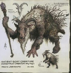 "Ancient Goat Creature design for ""Pan's Labyrinth"" by William Stout"