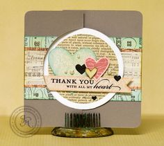 """Thank You"" card, very cute if simplified... use one vintage style print for background  not so many hearts."