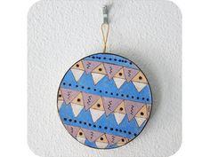 """Southwestern Triangles Circle Ornament"" by #katnawlins on #etsy, $8.50 - #holiday #ornament #triangles #southwestern #blue #geometric #dots #gift #art #hand-drawn #circle"