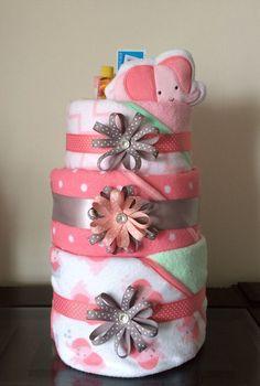 Pink Elephant Baby Girl Bath Towel Diaper Cake