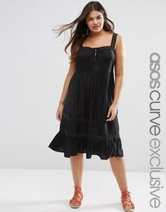 ASOS CURVE Sundress with Crochet and Lace Up Front